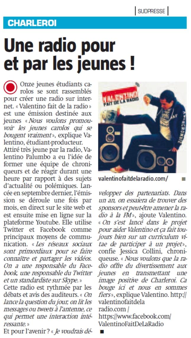 Valentino fait de la radio presse